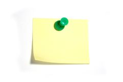 Note with thumbtack. Blank yellow note with green thumbtack Royalty Free Stock Photo