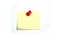 Note with thumbtack. Blank yellow note with red thumbtack Royalty Free Stock Photography