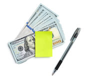 Note to assignment of expenditures stock photos