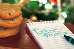 Note to Santa with cookies Royalty Free Stock Image
