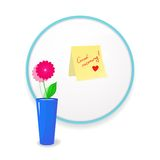 Note to wish good morning glued to mirror. In the bathroom with flower in vase to the fore, a beautiful vector illustration of  uplifting Stock Photography