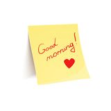 Note to wish good morning glued to wall Royalty Free Stock Photo