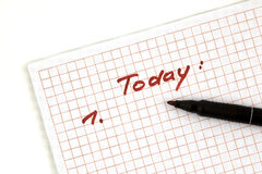 Note for today Stock Image