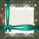 Note with turquoise ribbon for your text Stock Photo