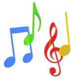 Note variopinte di musica in 3D Immagini Stock