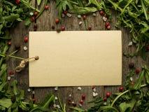 Note vide sur le fond en bois avec des feuilles de l'espace de copie de sel de poivre d'arugula, rouge et noir Photos stock