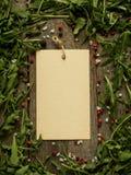 Note vide sur le fond en bois avec des feuilles de l'espace de copie de sel de poivre d'arugula, rouge et noir Image libre de droits