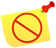 Note with warning symbol. No or warning symbol on thumb tacked note - vector Royalty Free Stock Photo
