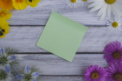 A note on a wooden surface framed by summer flowers 4 Royalty Free Stock Photo