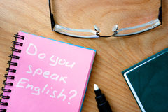 Note with words Do you speak English? Royalty Free Stock Photography