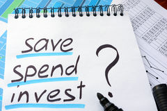 Note with words save spend invest. Note with words save spend invest and marker Royalty Free Stock Photography