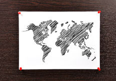 Note world map Royalty Free Stock Image