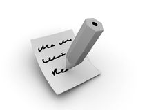 Note writing. Rendered writing pencil on the papper (black and white royalty free stock photos