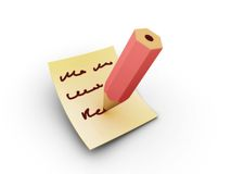 Note writing. Rendered writing pencil on the papper vector illustration