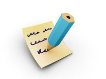 Note writing. Rendered writing pencil on the papper royalty free stock photos