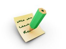 Note writing. Rendered writing pencil on the papper royalty free stock photo