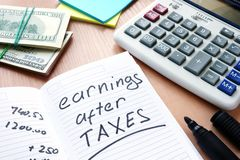 Note with written words Earnings after Taxes. A Note with written words Earnings after Taxes Royalty Free Stock Image