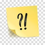 Note yellow sticker exclamation point question mark. Note yellow sticker exclamation point, question mark, interrogation point, Information notise, alarm sign Royalty Free Stock Image