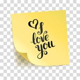 Note yellow sticker i love you Stock Images