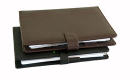 Notebook. Brown ana black daily on white background Stock Photography