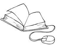 Notebook. Book with a computer mouse stock illustration