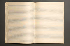 Notebook. Open lined notebook isolated over grey background Stock Photography