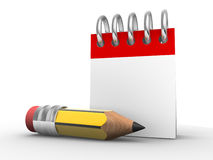Notebook. A pencil and a notebook. Calendar. 3d render illustration Royalty Free Stock Images