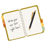 Notebook. With pen and sampple text Royalty Free Stock Photo