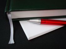 Notebook. Paper sheets and pen stock photo