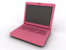 Notebook. The pink laptop on a white background Stock Photos