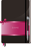 Notebook. Pen Resting On Top Of A Brown And Pink 2009 Notebook vector illustration
