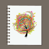 Notebook, abstract colorful tree design Royalty Free Stock Image