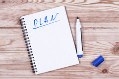 Notebook with an action plan Royalty Free Stock Image