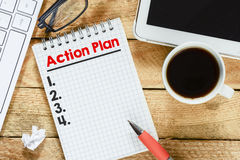 Notebook with action plan Royalty Free Stock Photography