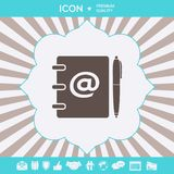 Notebook, address, phone book with email symbol and pen icon. Graphic elements for your design stock illustration