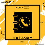 Notebook, address, phone book icon with handset symbol Vector Illustration