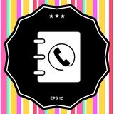 Notebook, address, phone book icon with handset symbol. Signs and symbols - graphic elements for your design stock illustration