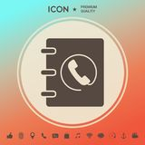 Notebook, address, phone book icon with handset symbol. Signs and symbols - graphic elements for your design vector illustration