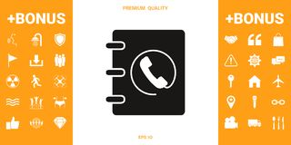 Notebook, address, phone book icon with handset symbol royalty free illustration