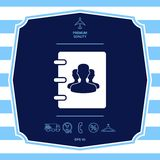 Notebook, address, phone book icon with symbol of group people . Graphic elements for your design royalty free illustration