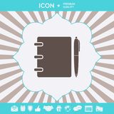 Notebook, address, phone book with pen symbol icon. Graphic elements for your design stock illustration