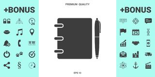 Notebook, address, phone book with pen symbol icon. Signs and symbols - graphic elements for your design royalty free illustration
