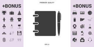 Notebook, address, phone book with pen symbol icon royalty free illustration