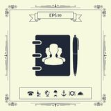 Notebook, address, phone book with symbol of group people and pen icon. Signs and symbols - graphic elements for your design royalty free illustration