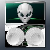 Notebook for aliens. Vector illustration of the alien laptop Royalty Free Stock Photos