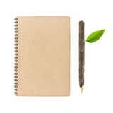 Notebook And Bark Pencil Stock Photo
