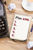 Notebook with annual plan. List for 2016 year stock photo