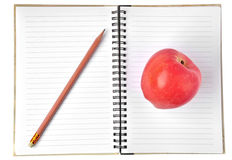 Notebook and apple  Stock Image