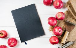 Notebook and apple on linen textiles on white wooden vintage background top view, dieting fruit with blank empty space. Mock up concept vegan food on kitchen Royalty Free Stock Photography