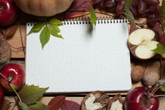 Notebook with autumn fruits Royalty Free Stock Images